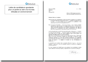 Lettre de candidature spontanée pour un poste au sein d'un bureau d'études en environnement