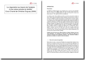 La négociation au travers de l'analyse d'une scène extraite du téléfilm Coco Chanel de Christian Duguay (2008)