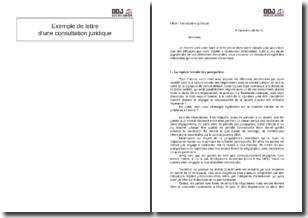 Exemple de lettre d'une consultation juridique