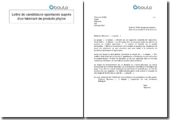 Lettre de candidature spontanée auprès d'un fabricant de produits phytos