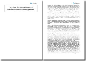 Le groupe Auchan: présentation, internationalisation, développement