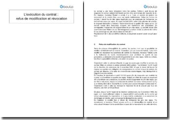 L'exécution du contrat : refus de modification et révocation