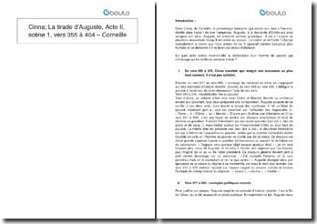 Cinna; La tirade d'Auguste, Acte II, scène 1, vers 355 à 404 - Corneille