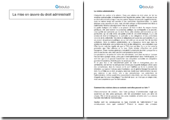La mise en oeuvre du droit administratif en Suisse