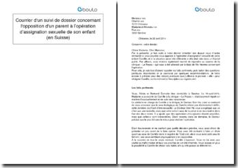 Courrier d'un suivi de dossier concernant l'opposition d'un parent à l'opération d'assignation sexuelle de son enfant (en Suisse)
