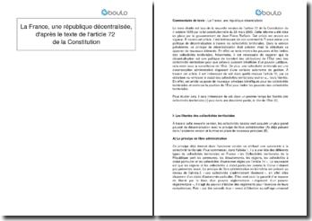 La France, une République décentralisée, d'après le texte de l'article 72 de la Constitution