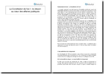 La Constitution de l'an I : le citoyen au coeur des affaires publiques