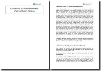Le contrôle de constitutionnalité d'après Robert Badinter