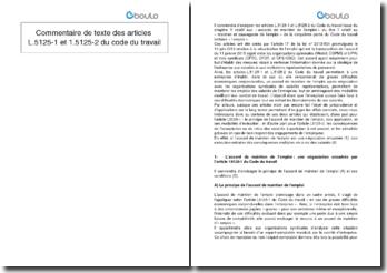 Commentaire de texte des articles L.5125-1 et L.5125-2 du Code du travail