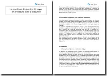 La procédure d'injonction de payer en procédure civile d'exécution