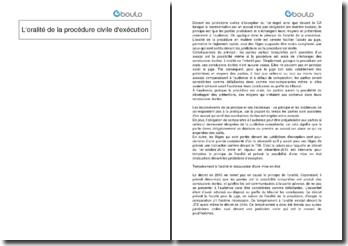 L'oralité de la procédure civile d'exécution