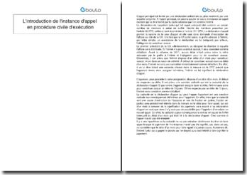 L'introduction de l'instance d'appel en procédure civile d'exécution
