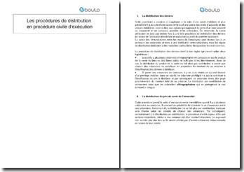 Les procédures de distribution en procédure civile d'exécution