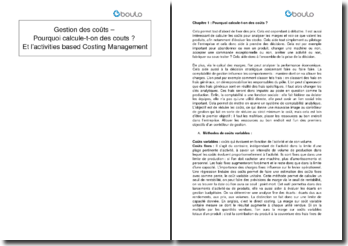 Gestion des coûts - Pourquoi calcule-t-on des coûts ? et l'activities based Costing Management