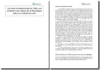Les choix constitutionnels de 1958, une protection des valeurs de la République dans un contexte de crise