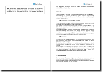 Mutuelles, assurances privées et autres institutions de protection complémentaire