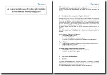La règlementation en hygiène alimentaire et les critères microbiologiques
