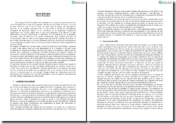 Sur la Télévision - Pierre Bourdieu : la télévision et l'usage qu'on en fait corrompent insidieusement de nombreux aspects de la société