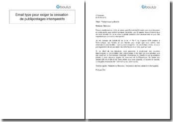 Email type pour exiger la cessation de publipostages intempestifs