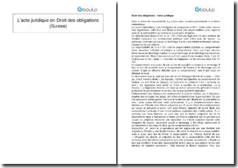 L'acte juridique en Droit des obligations (Suisse)