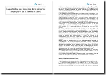 La protection des données de la personne physique et de la famille (Suisse)