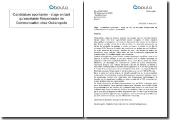 Candidature spontanée - stage en tant qu'assistante Responsable de Communication chez Océanopolis