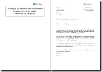 Lettre type pour refuser la transformation de votre contrat de travail en contrat de télétravail