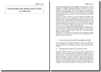Commentaire des articles 2240 à 2244 du Code civil