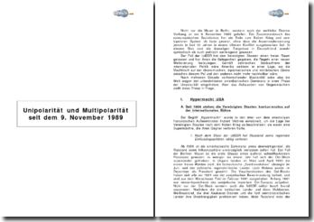 Unipolarität und Multipolarität seit dem 9. November 1989