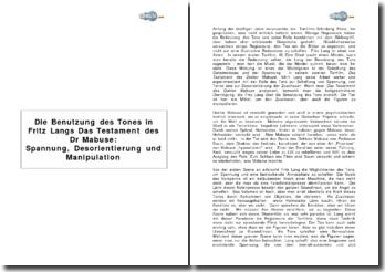 Die Benutzung des Tones in Fritz Langs Das Testament des Dr Mabuse: Spannung, Desorientierung und Manipulation