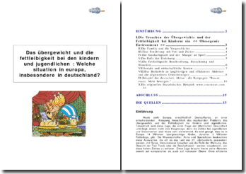 Übergewicht und Fettleibigkeit bei den Kindern in Deutschland und Europa