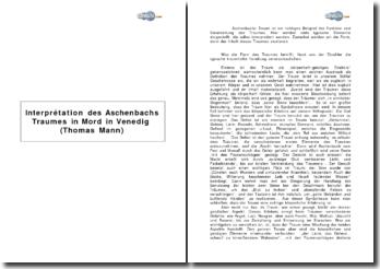 Interpretation des Aschenbachs Traumes in Mord in Venedig (Thomas Mann)