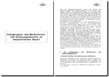 Volksgruppen und Minderheiten (Un-)Ordnungsfaktoren im weltpolitischen Raum?