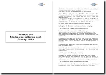 Konzept des Friedensjournalismus nach Galtung/ Bilke