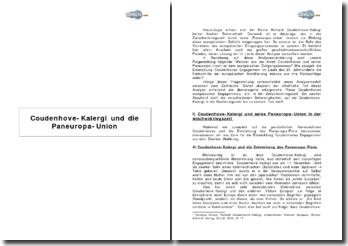 Coudenhove-Kalergi und die Paneuropa-Union