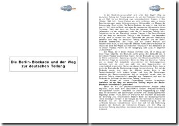 Die Berlin-Blockade und der Weg zur deutschen Teilung
