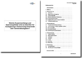 Welche Zusammenhänge und Spannungsfelder sind zu beachten für Auslagerungs-/Outsourcing-entscheide über Gemeindeaufgaben?