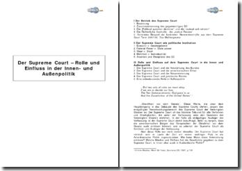 Der Supreme Court - Rolle und Einfluss in der Innen- und Außenpolitik