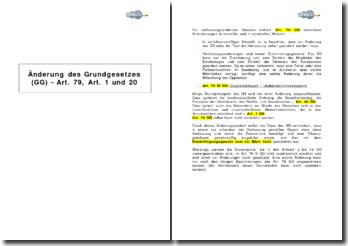 Änderung des Grundgesetzes (GG) - Art. 79, Art. 1 und 20
