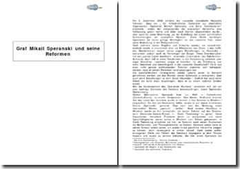 Graf Mikail Speranski und seine Reformen