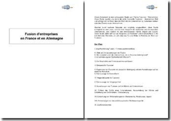 Fusion d'entreprises en France et en Allemagne