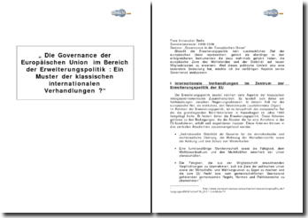 """""""Die Governance der Europäischen Union im Bereich der Erweiterungspolitik : Ein Muster der klassischen internationalen Verhandlungen ?"""