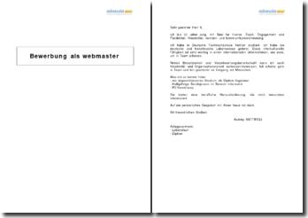 Bewerbung als Webmaster