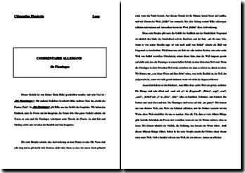 Commentaire littéraire de Die Flamingos de Rilke