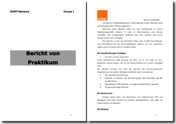 Bericht von Praktikum: Orange