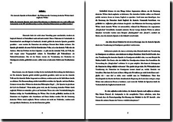 Die deutsche Sprache in Deutschland: das Phänomen der Ersetzung deutscher Wörter durch englische Wörter