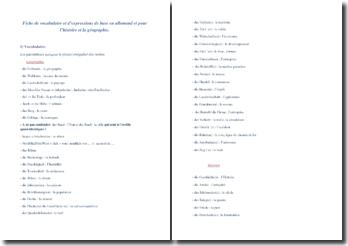 Fiche de vocabulaire et d'expressions en allemand d'histoire et géographie