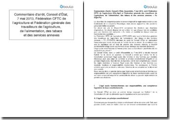 Commentaire d'arrêt, Conseil d'État, 7 mai 2013, Fédération CFTC de l'agriculture et Fédération générale des travailleurs de l'agriculture, de l'alimentation, des tabacs et des services annexes