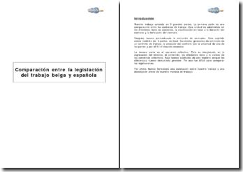 Comparaison du contrat de travail espagnol et belge