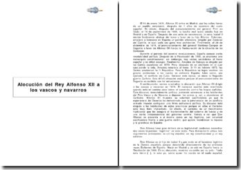 Alocución del Rey Alfonso XII a los vascos y navarros